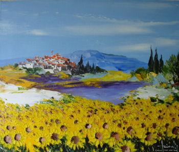 peintre Provence peinture Provence, villages provençaux, lavande, coquelicot, tournesol
