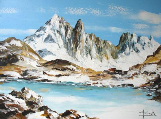 Tableau peinture de chamonix oil painting chamonix christian guinet peint - Peinture tableau blanc castorama ...