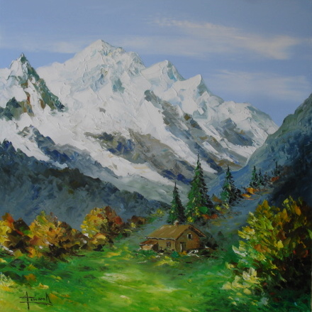 tableau peinture de montagne mountain oil painting. Black Bedroom Furniture Sets. Home Design Ideas